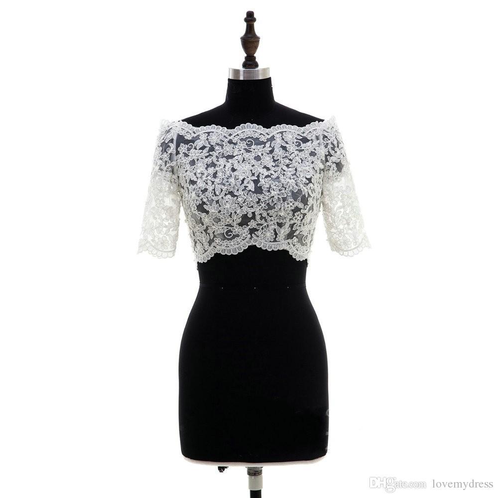 Fashion 2020 Lace Bridal Bolero Off the shoulder Half Sleeves Wedding Jackets Illusion Button Back Wedding Accessories Wedding Bolero