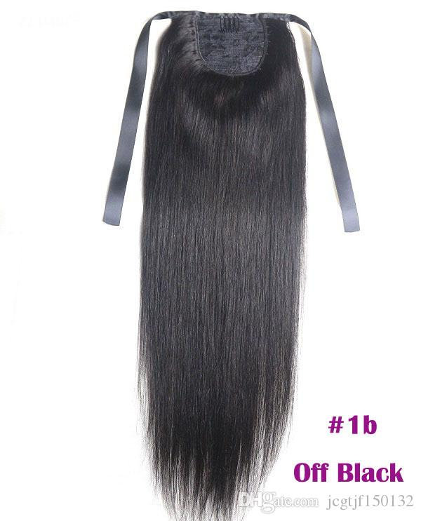 """Наращивание хвостика Kinky Straight For Women 100 г Цвет # 1B Натуральный черный 100% натуральные волосы Remy PonyTail Extensions 60 г 16 """"40 см"""