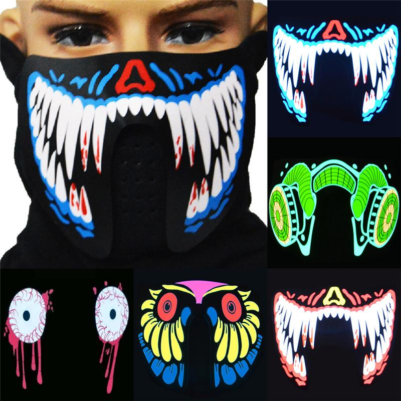 1 UNIDS Moda Cool LED Luminoso Intermitente Máscara de Cara Máscara de Fiesta Máscaras de Eventos Light Up Dance Cosplay Impermeable