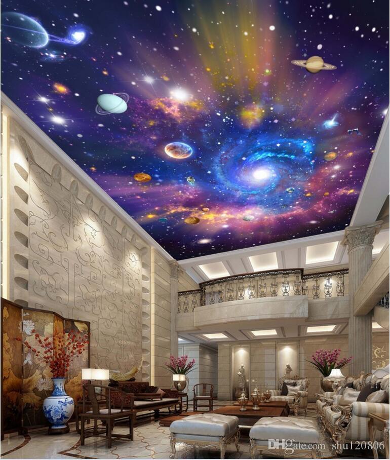 3d обои пользовательских фото Звездной Вселенная космических галактик планета потолочных росписи фон украшение дома обои Гостиная для стен 3 д