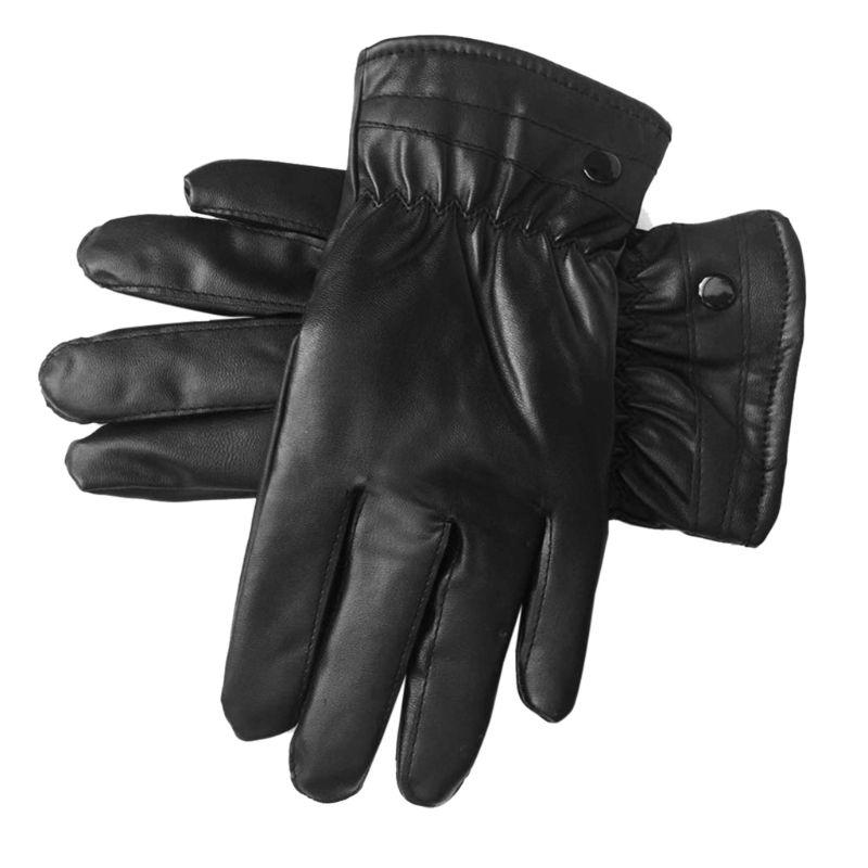 Mens Faux Leather Winter Gloves Warm Lined Thicken Ruched Wrist Hand Warmer Soft
