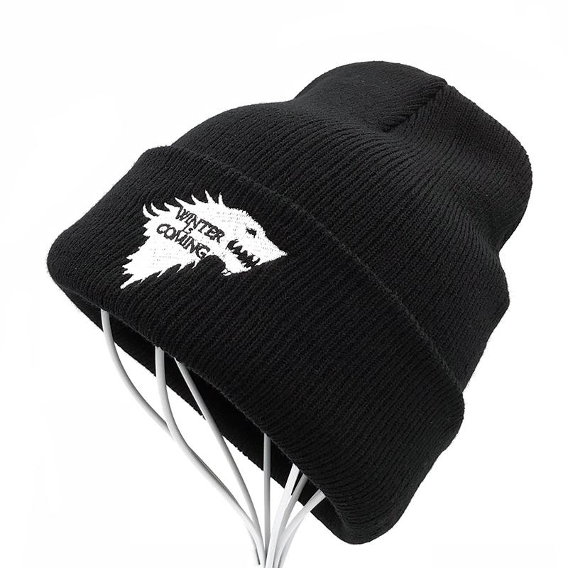 Balaclava Winter Warm Knitted Beanie Hats Brand Game of Thrones Skullies Teenager Embroidered Dire Wolf Hats for Men and Women