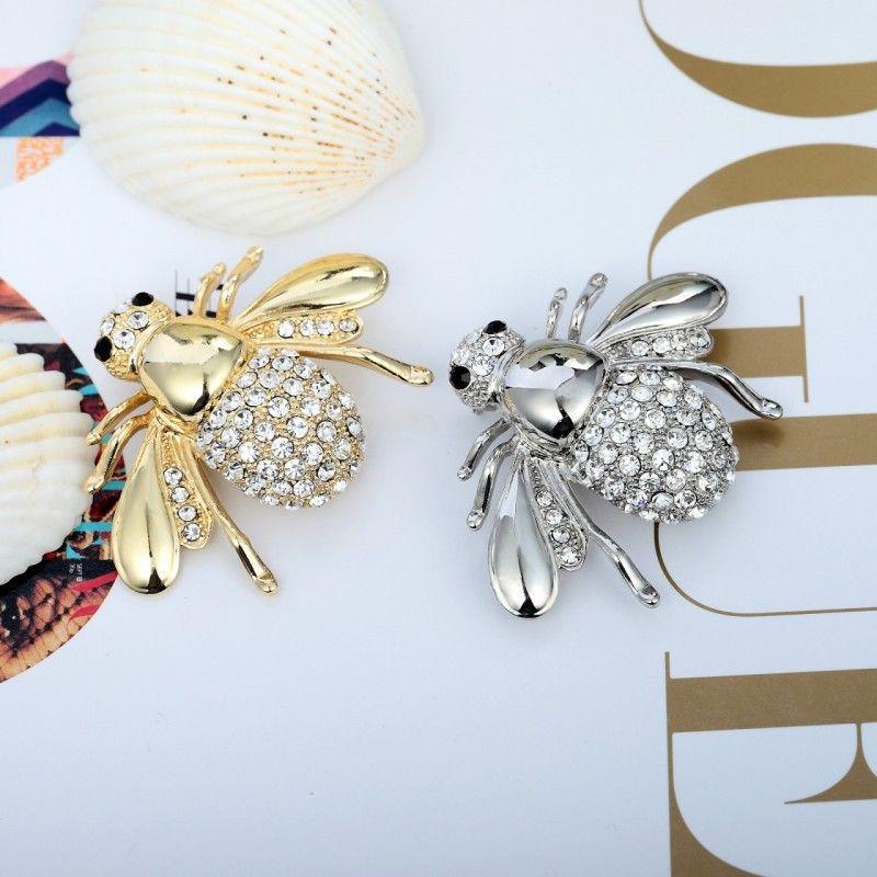 Alta Quailty Cute piccola ape Spilla di cristallo strass animale Belle spille Pins Per le donne Accessori gioielli di moda