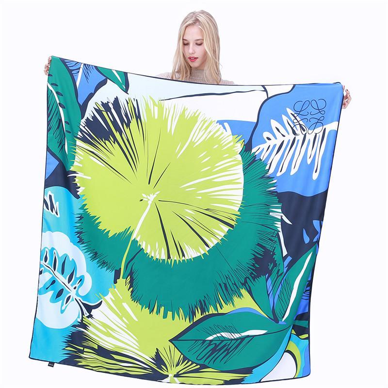New Twill Silk Scarf Women Big Leaves Print Square Scarves Fashion Wrap Female Foulard Large Hijab Shawl Neckerchief 130*130CM