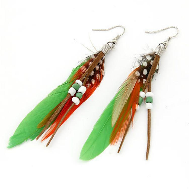 Deuxième alliage de mode personnalité élégante plumes glands gaze pendentif boucles d'oreilles boucle d'oreille bijoux ornements