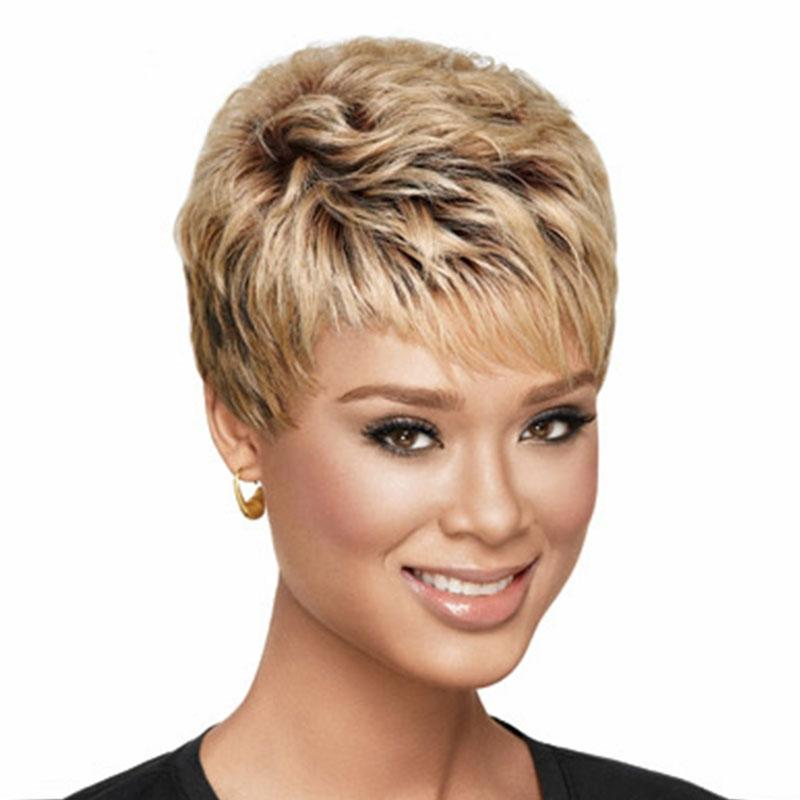 8 inches hot sale hair Curly products Beautiful girl cut Short pixie wigs for women style Synthetic Blonde hair wig with bangs