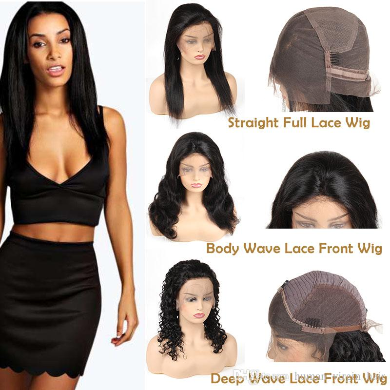 Cheap 8A Brazilian Virgin Human Hair Lace Wigs Straight Unprocessed Lace Front Wigs Body Wave Full Lace Wigs Deep Wave Remy Hair Vendors