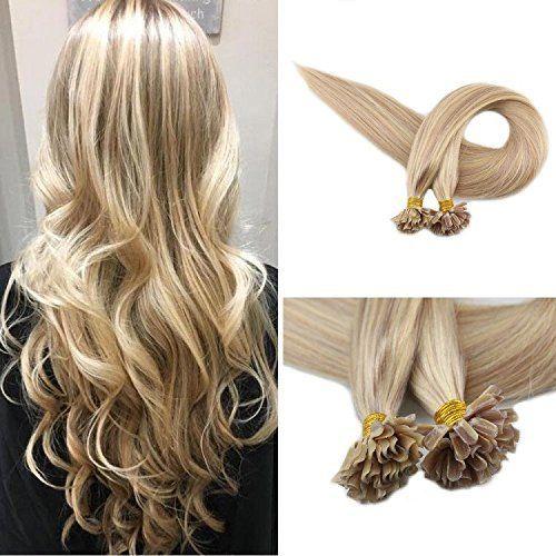 Evermagic alta calidad Remy extensiones de cabello cabello humano U Tip Keratin 18/613 # extensiones de punta de uñas de color