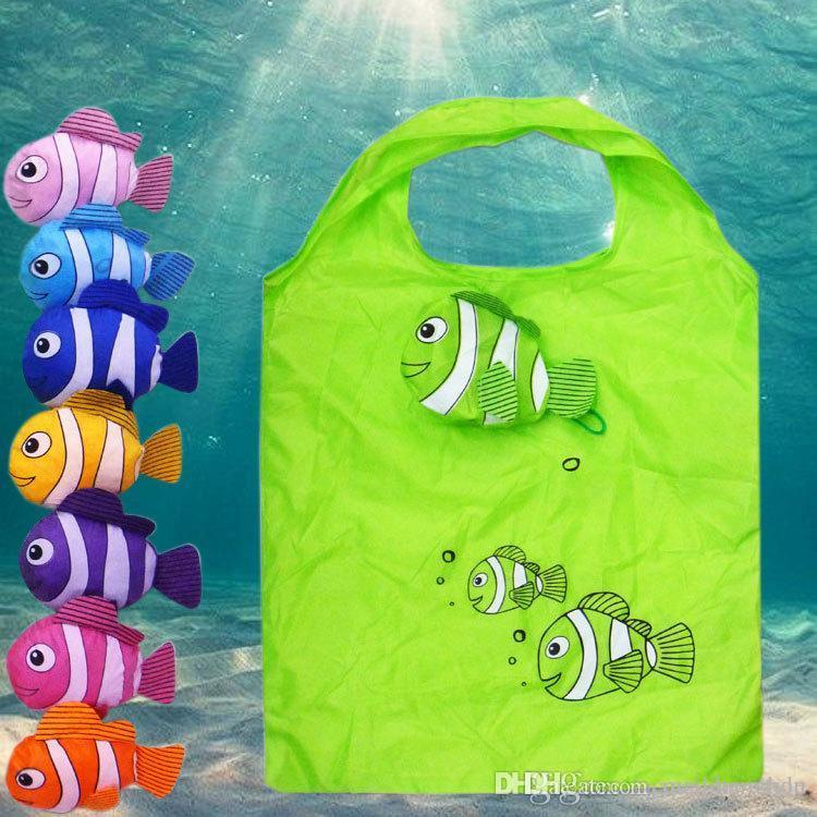New Nylon moda bonito peixe dobrável saco de compras dos desenhos animados eco-friendly reciclar / reutilizável bolsas de mercado clownfish à prova d 'água
