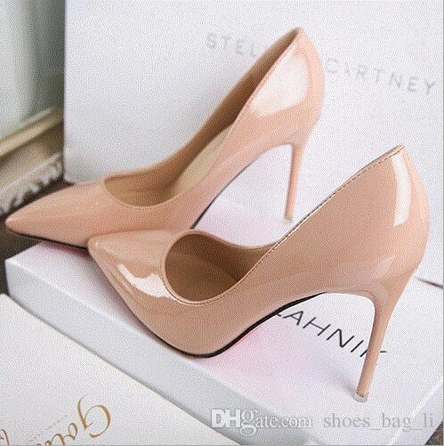 New Four seasons High-heeled shoes Fine Tips Shallow mouth Bridesmaid Naked pink Sexy White Wedding shoes Work shoes Fashion Wild Princess