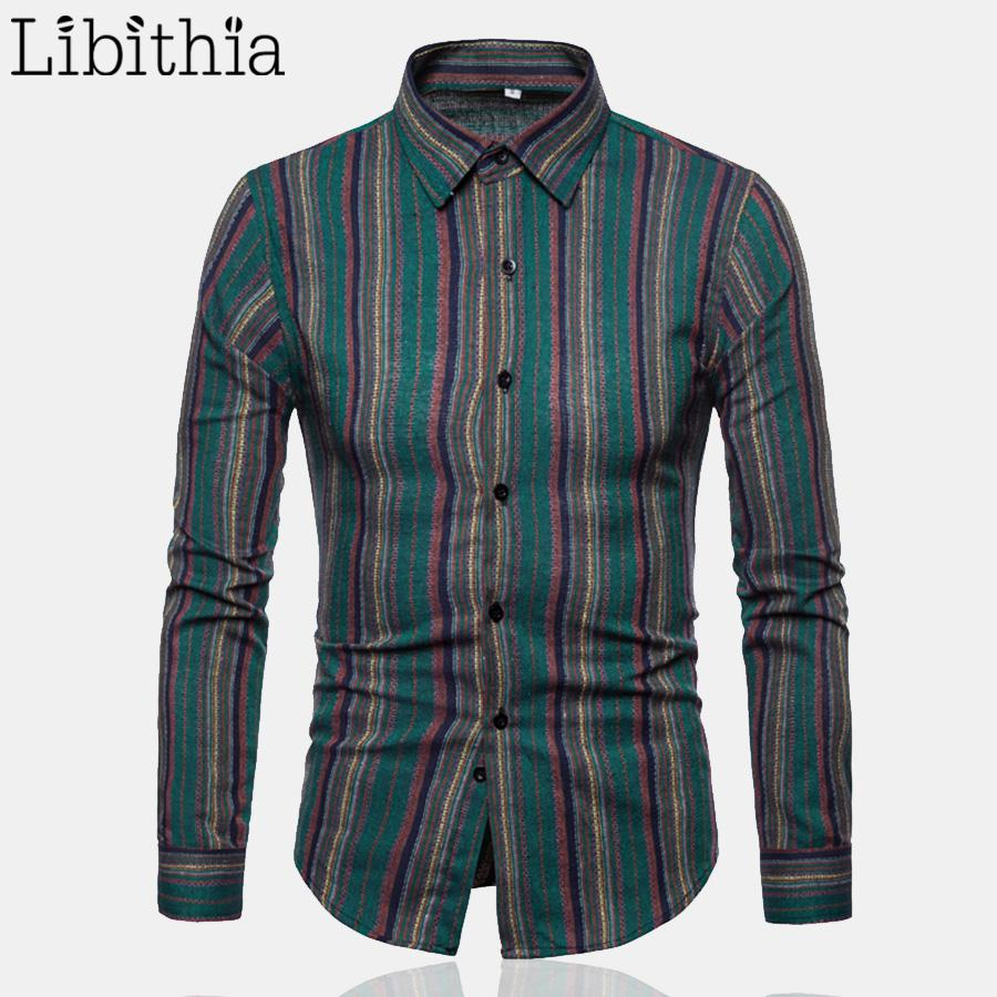 Men's Casual Dress Shirts Striped Pattern S-2XL Long Sleeve Clothes Turn-down Collar Autumn Male Clothes Grey Green Coffee T270