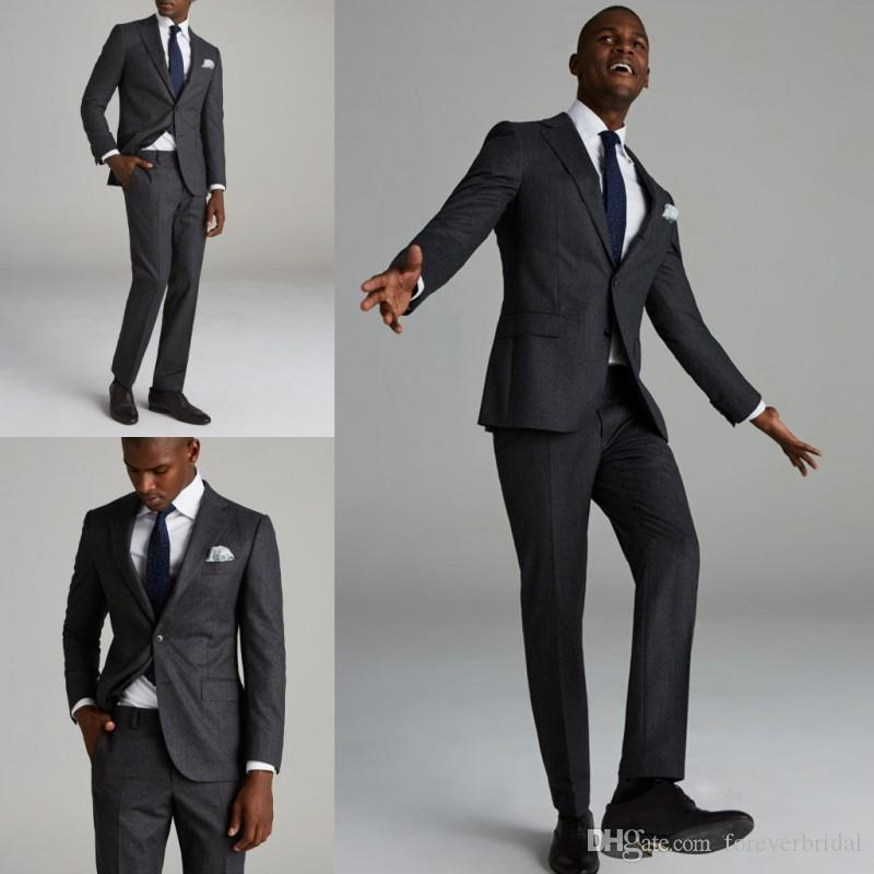 Winter New Design Wedding Tuxedos For Men Colour Gray Thick Fabric Two Buttons Two Pieces (Blazer+ Pant) Business Office Formal Suits
