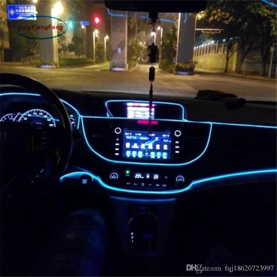 1 м гибкая El провод Noen свет 10 цветов DC 12 в интерьер автомобиля светодиодные полосы света авто DIY атмосфера лампы