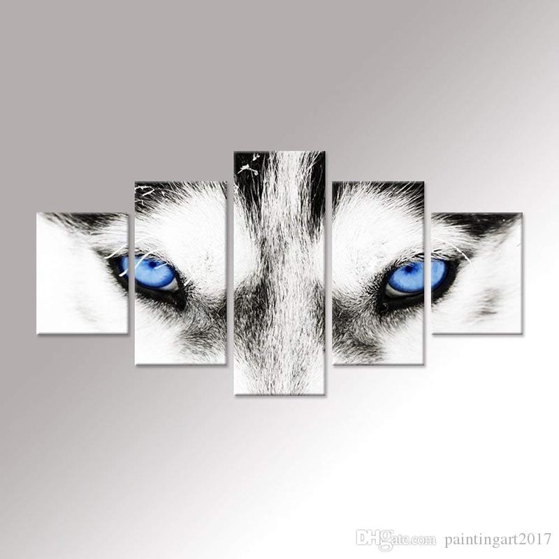 2019 Handmade Canvas Wall Art Black And White Wolf Dog With Blue Eyes Animal Face Head Series Abstract Picture Painting Home Decor From