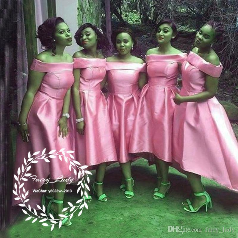 Wholesale Dark Pink Satin High Low Bridesmaid Dresses For Women 2018 Boat Neck Corset Back Ankle Length A Line Party Dress Formal Gown