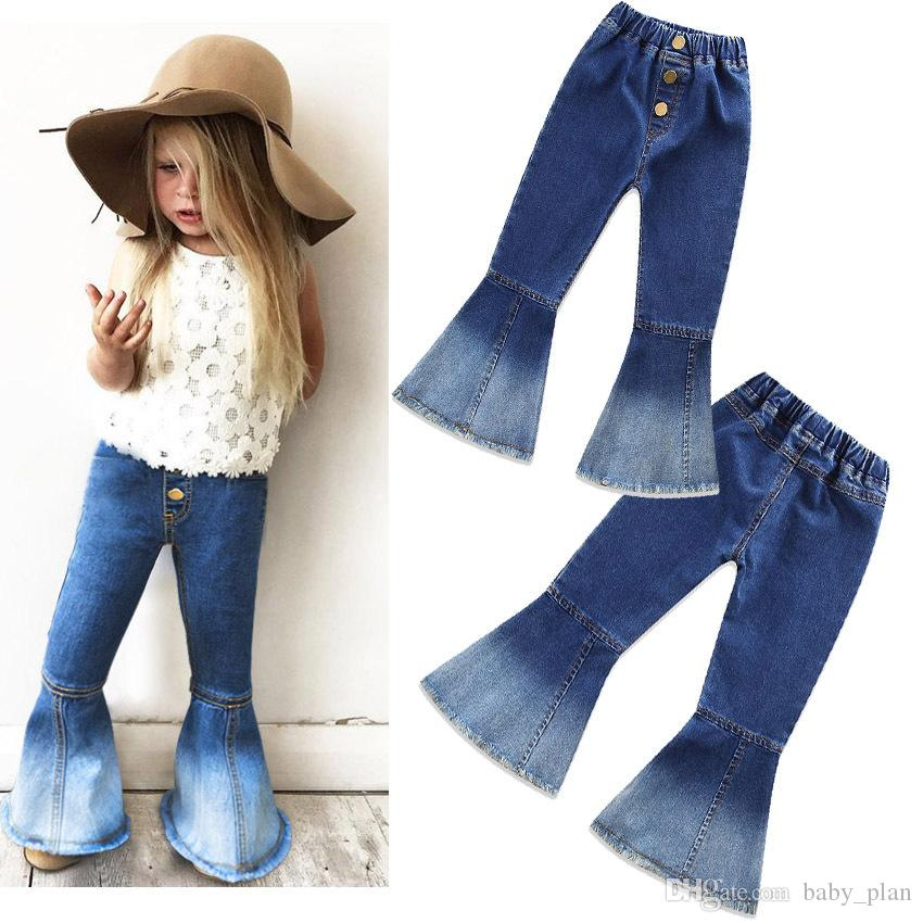 Großhandel 2019 Mode Kinder Flare Hosen Boot Cut Jeans Mädchen Bell Bottoms Hosen Baby Mädchen Blet PU Lederhosen Kinder Strumpfhosen Lange Hosen Von