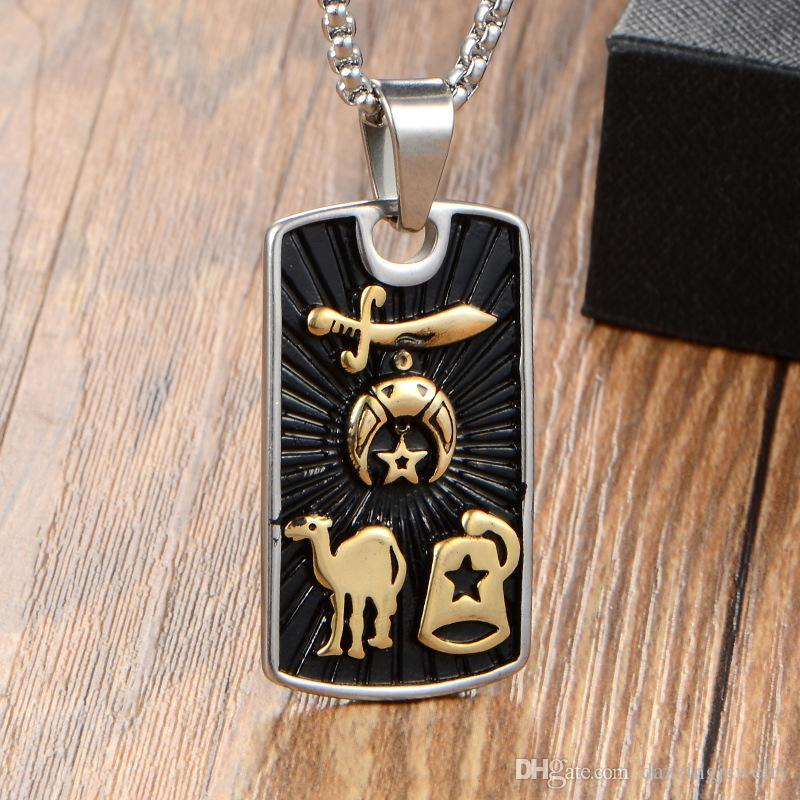 New stainless steel men man's gold freemason signet masonic shriner pendant with camel sword hat cap shrine necklace jewelry