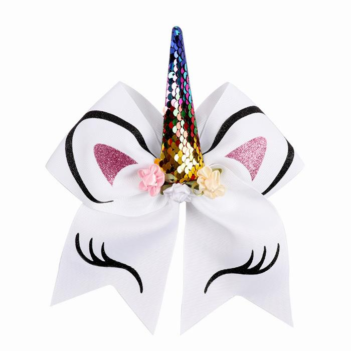 Kids Unicorn Horn Bowknot Sequin Ponytail Holder Rubber Band Hair Ties Rope Ring