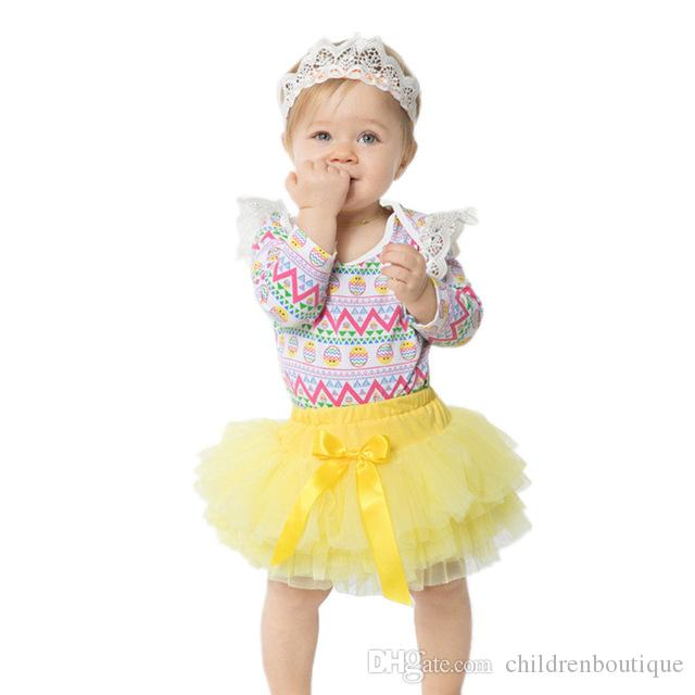 Toddler Baby Girls Easter Eggs Romper Dress Headband Boutique Ruffle Clothes Set