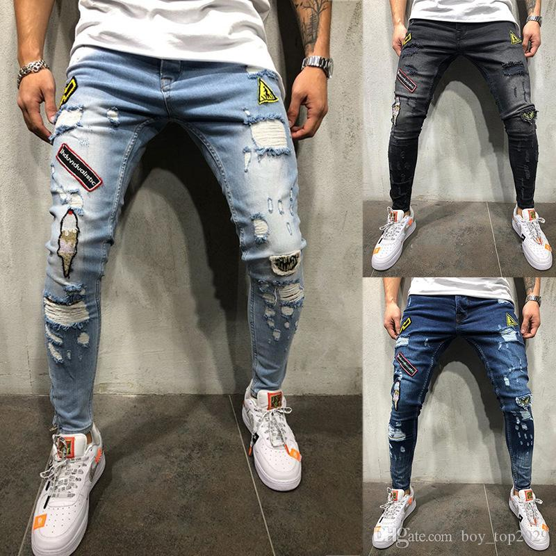 HOT!2018 Newly Designer Men's Jeans Top Quality Slim Fit Blue Color Destroyed Ripped Patches Jeans For Men Coat Brand Designer Biker Jeans