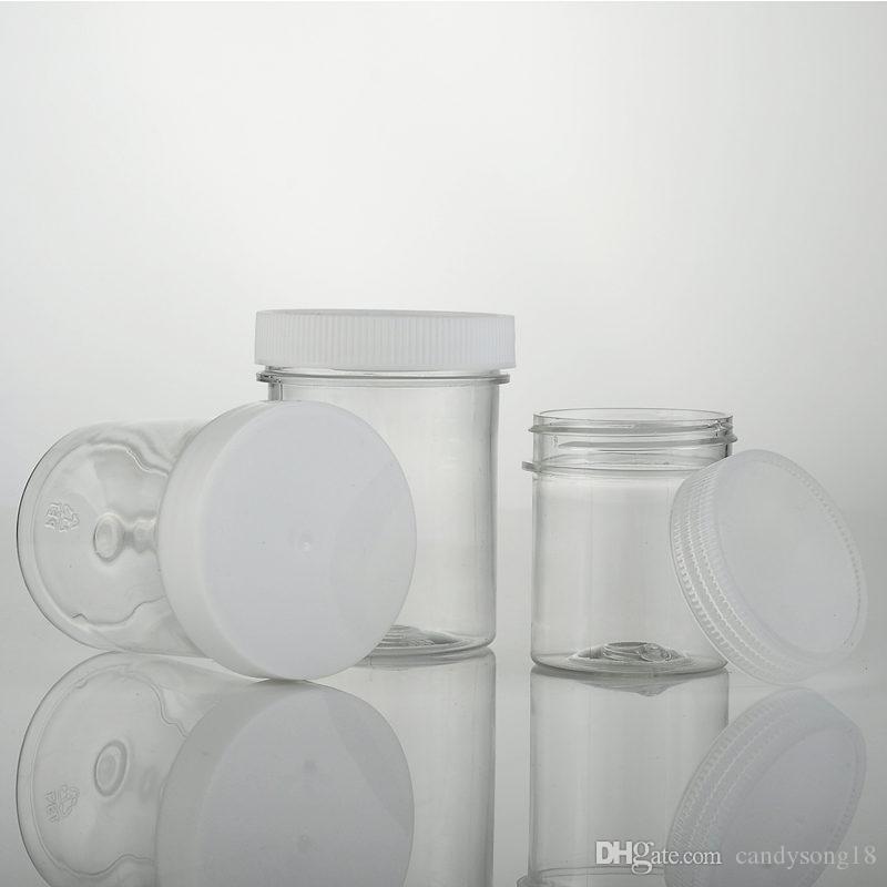 60ML 120ML جولة حاوية PET زجاجة جرة واضحة مع غطاء غطاء من البلاستيك الأبيض ، لجرة مستحضرات التجميل التعبئة والتغليف الشحن السريع F754