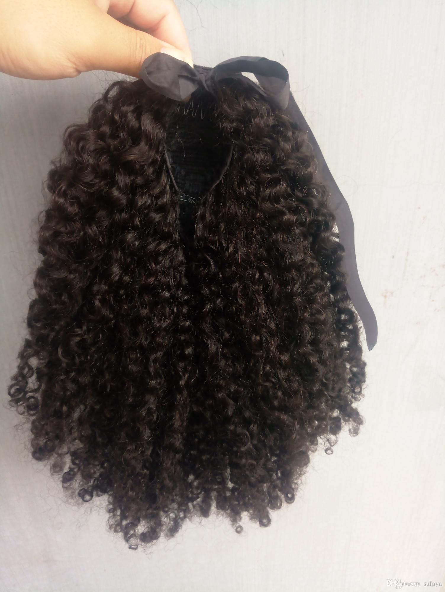 Sufaya Full Head Brazilian Human Virgin Remy Kinky Curly DrawstringPonytail Hair Extensions Natral Black Color 1b Color 150g one bundle