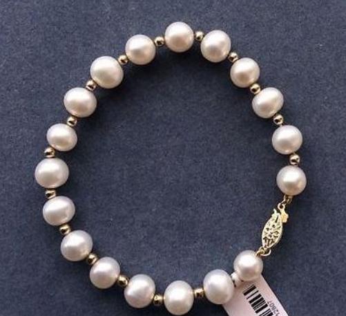 9-10мм South Sea White Pearl браслет 7.5-8inch 14k золото Застежка женщин из бисера ручной цепи