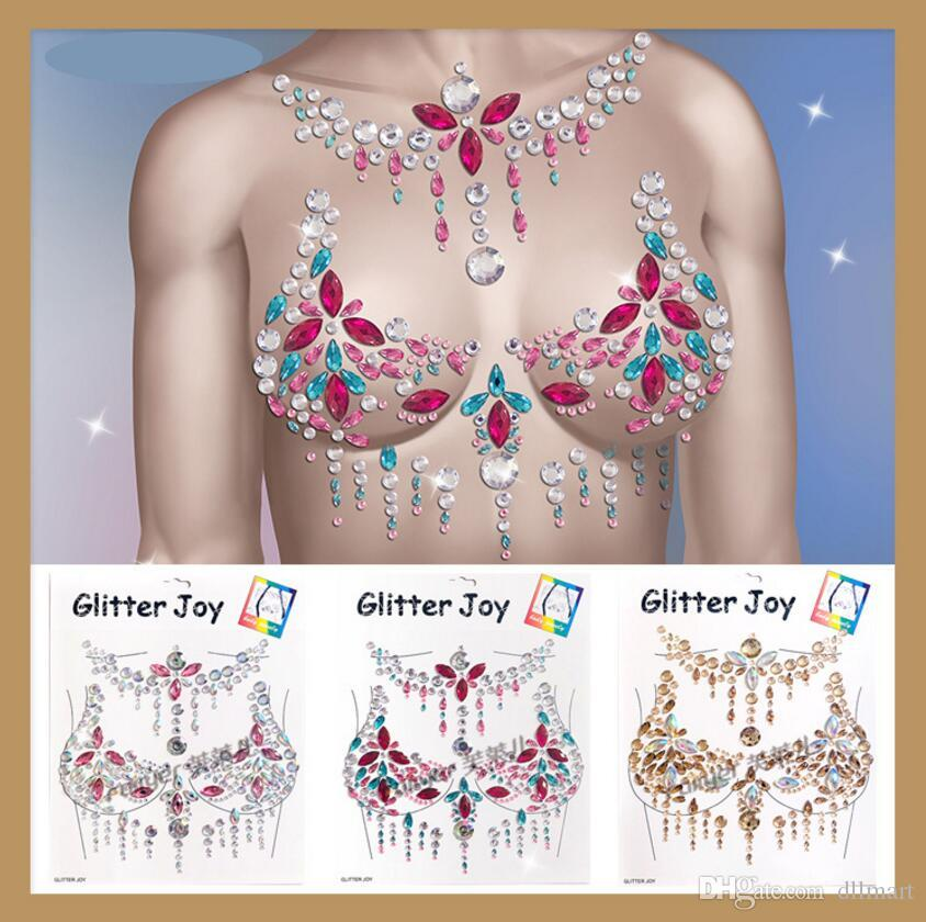 Breast Petal Glitter Crystal Sticker Sexy Gem Nipple Cover Resin Drill INS Beauty Fashion Chest Paste Body Tattoo Sticker