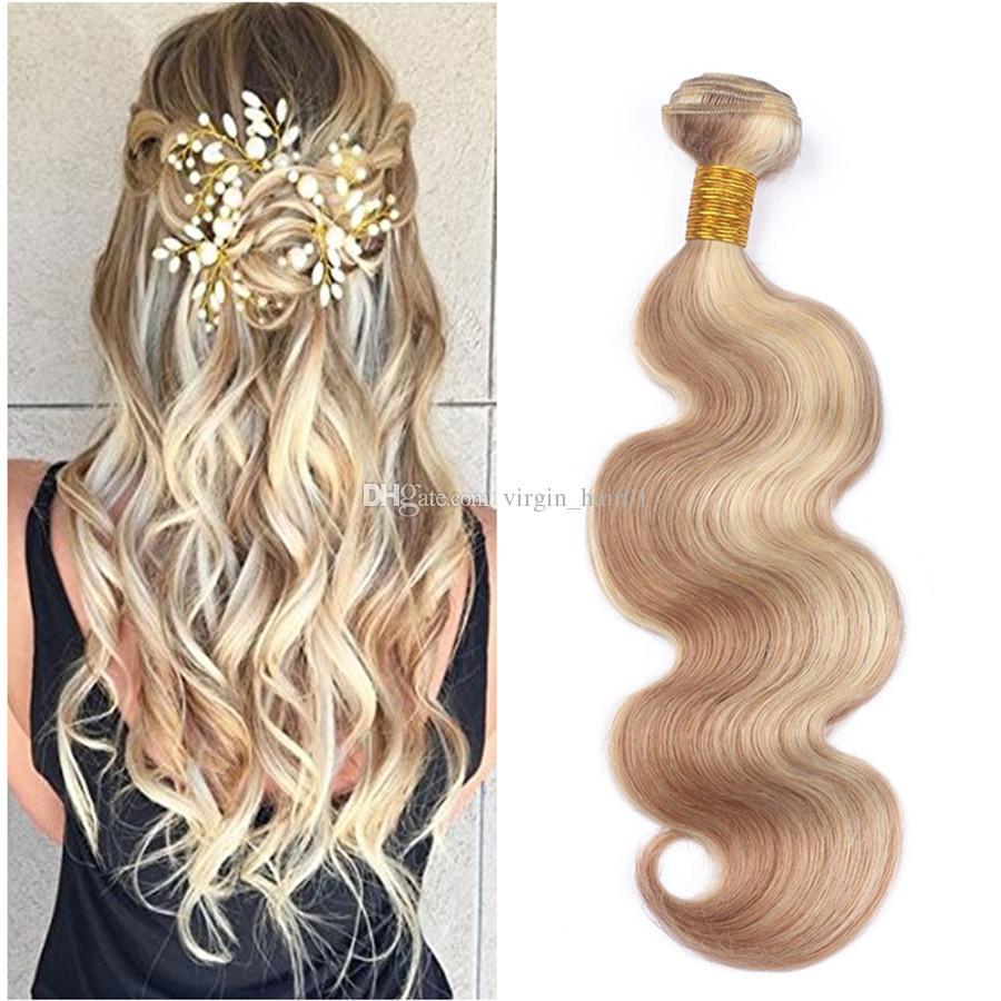블론드 믹스 헤어 익스텐션 27/613 허니 금발 피아노 헤어 익스텐션 3 묶음 코너 바디 웨이브 블랙 여성용 Vigrin Russian Hair