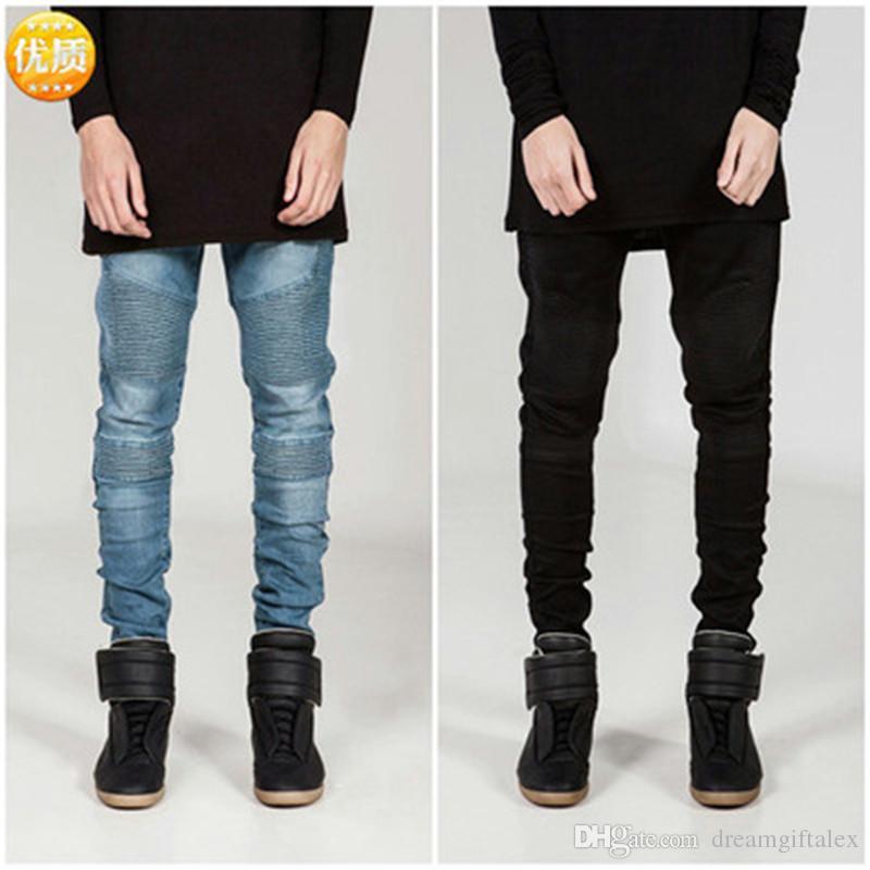 Streetwear Mens Ripped Biker Jeans homme moda Motosiklet Slim Fit Siyah Beyaz Mavi Moto Denim Pantolon Joggers Sıska erkek