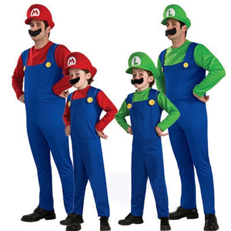 Kids Adult Mens Super Mario and Luigi Bros Fancy Dress Halloween Costume Plumber 2 Size 7 Colour
