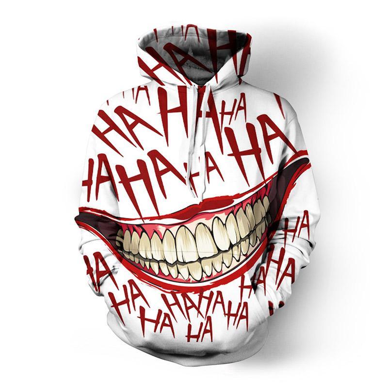 SOSHIRL HAHA Joker Engraçado Moletom Com Capuz Halloween Sorriso Louco Pullover Camisola de Manga Longa Moda Stree Coats Cool Unisex Sportwear