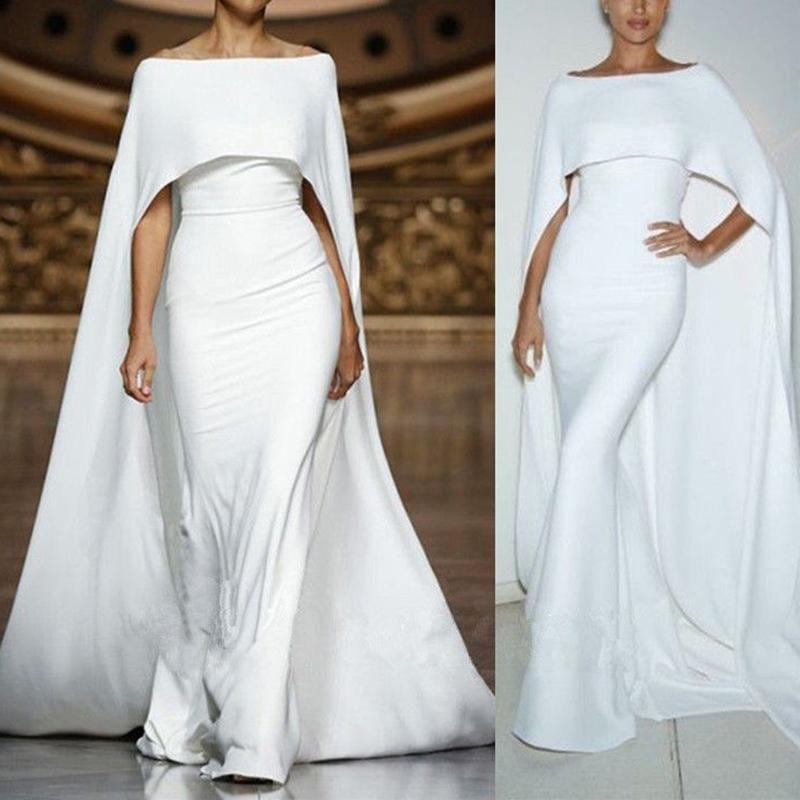 2019 Белые Пром платья с Wrap Jewel шеи Мягкая атласная сшитое Русалка вечернее платье партии Wear арабскую формальный повод Gowns