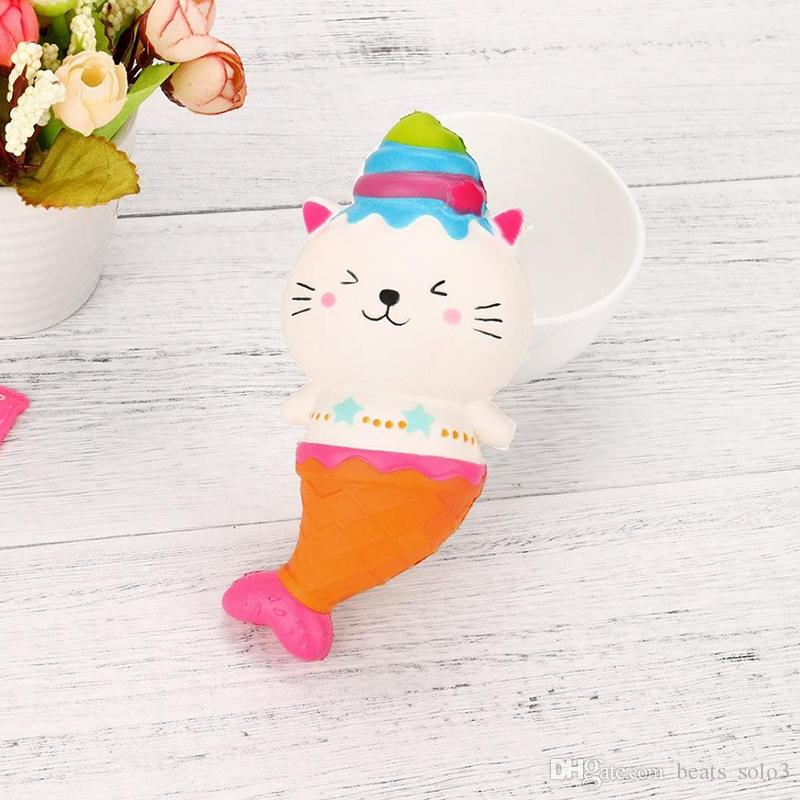15cm Cute Jumbo Cat Kitty Mermaid Ice Cream Squishy Slow Rising Soft Squeeze Strap Scented Cake Bread Kid Toy Fun by DHL free