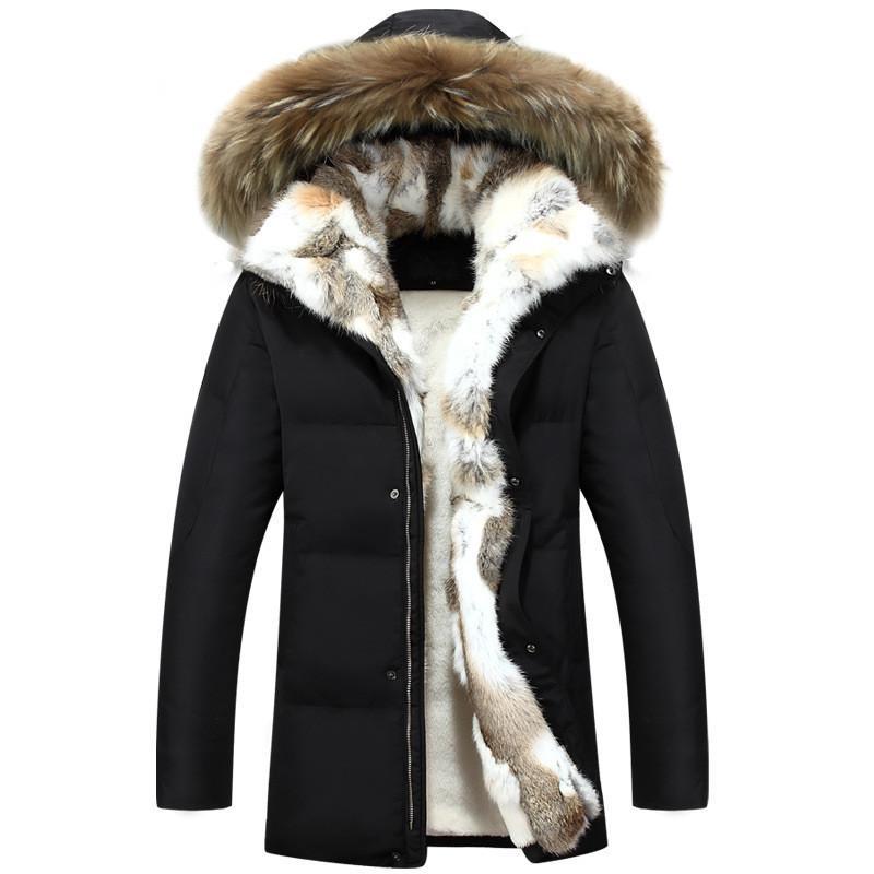 2018 جديد وصول الرجال الشتاء أسفل سترة الرجال الفراء طوق الأزياء سميكة الدافئة سترة عارضة الثلوج أسفل الستر زائد الحجم 3XL.4XL.5XL Y181101