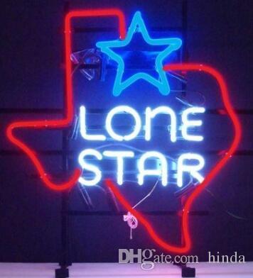 17 * 14 pouces Lone Star enseigne au néon sculpture signe bricolage verre LED enseigne au néon Flex corde lumière décoration intérieure / extérieure RGB tension 110V-240V