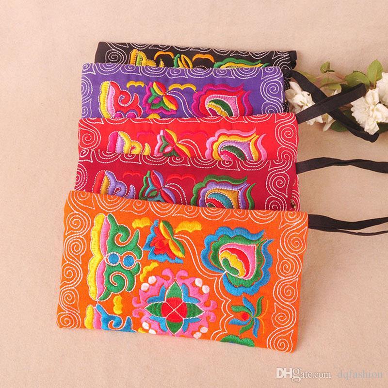 National Style Femmes Pochette Contraste Couleur Broderie Sac À Main Bracelet Élégant Petit Mini Mobile Téléphone Sac Portefeuille Livraison gratuite