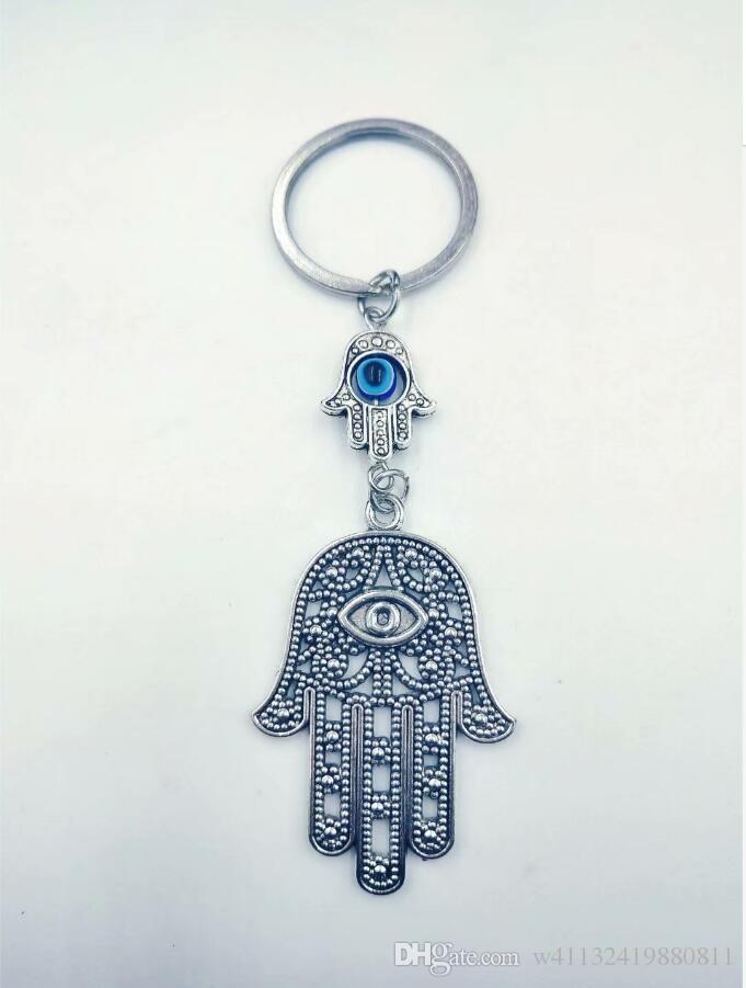 Fashion Jewellery Angel Wings Evil Eye Hamsa Fatima hand Charm DIY Keychain,Silver Tone Key Chain Keyring Fashion Pendant Jewelry -14