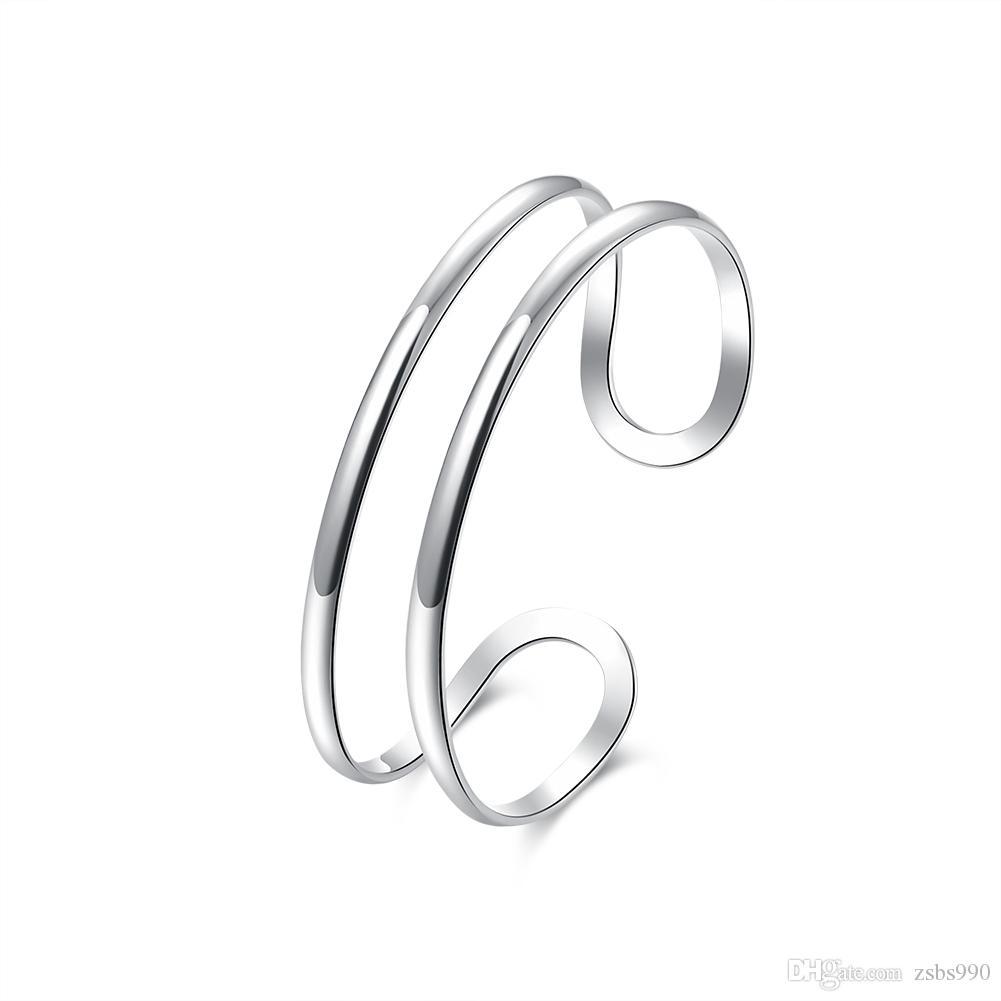 Mode 925 zilveren opening armband vrouw sieraden neutrale minimalistische stijl nieuwe ontwerp topkwaliteit 10pcs / lot