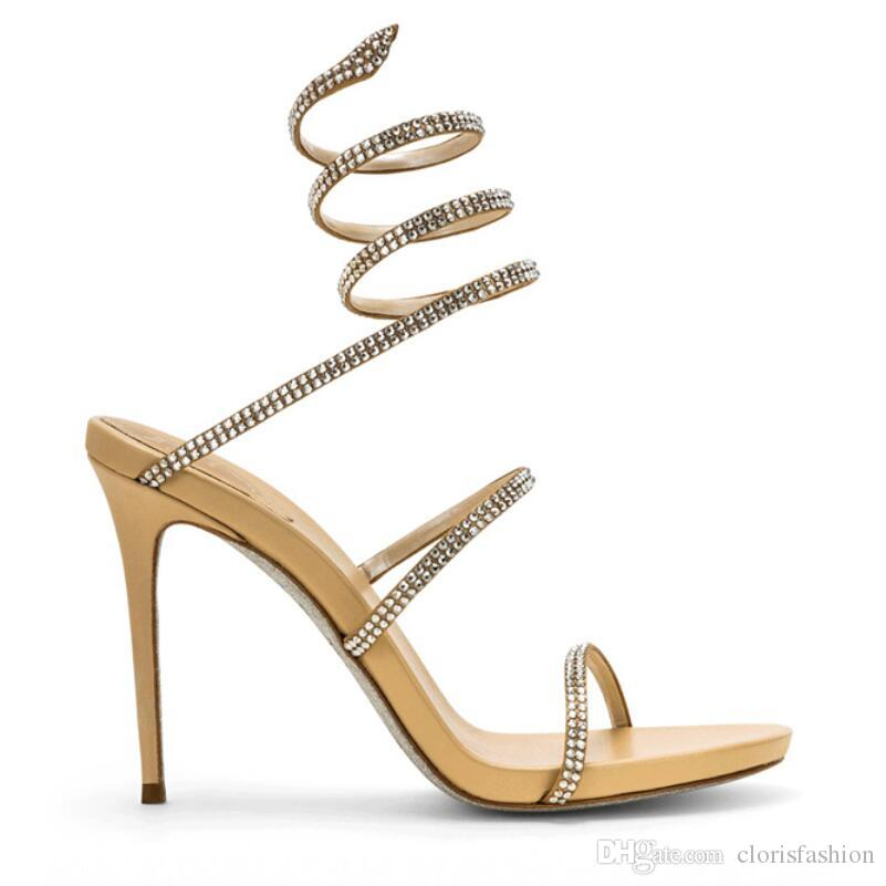 2018 Hottest Fashion Crystal Serpentine winding Open Toe Sexy Thin High Heel Party Summer Women Sandals Four Color Normal Size
