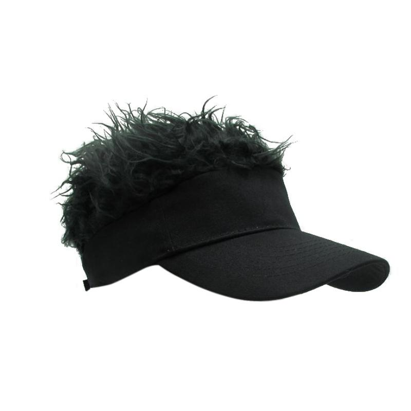 Wholesale-Hot New Novelty Baseball Cap Fake Flair Hair Sun Visor Hats Men Women Toupee Wig Funny Hair Loss Cool Gifts