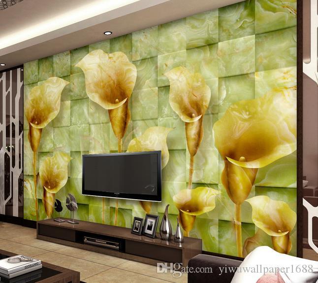 Jade en relief calla lis stéréo TV canapé fond mur papiers peints décorateurs
