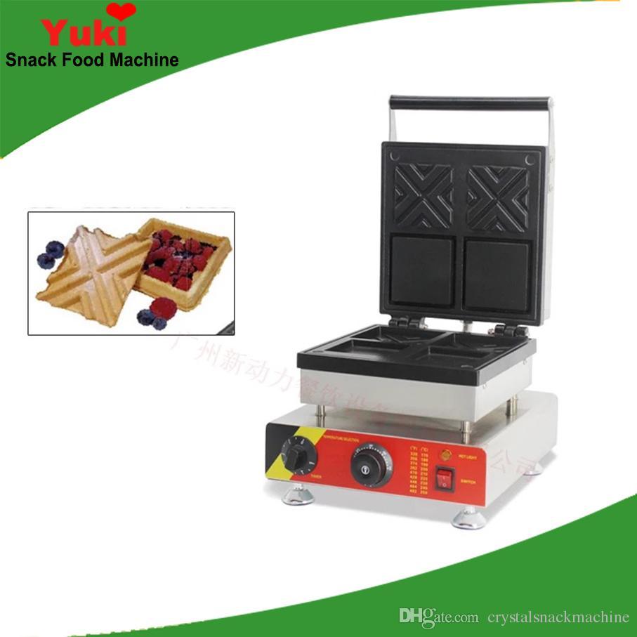 Ticari Sandviç Waffle Yapma Makinesi Elektrikli Doldurma Waffle Makinesi Makinesi Hollow Waffle Koni Makinesi Satılık