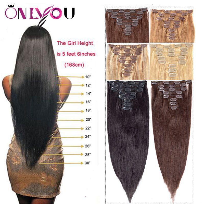 La più nuova clip diritta dei capelli umani vergini brasiliani nelle estensioni 8pcs / set 14-24 pollici inondano la clip di natura dell'onda del corpo della testa nelle estensioni dei capelli umani