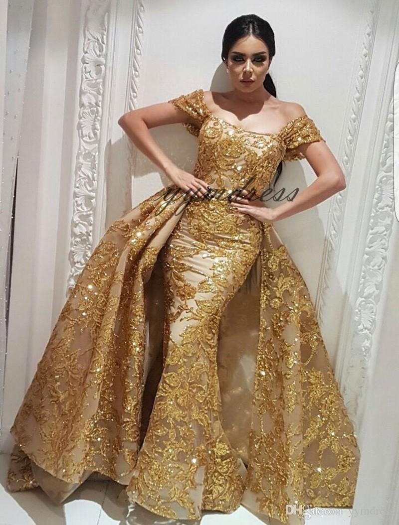 Evening Dresses 2019 Yousef Aljasmi Dubai Arabic Bling Bling Gold Sequins Lace Prom Gowns Overskirt Detachable Train Mermaid Party Dress
