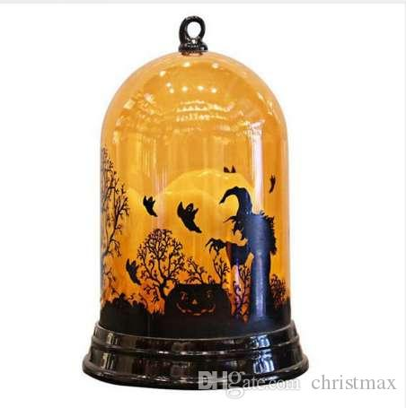 Nueva luz de la calabaza creativa moda de Halloween decoración de escritorio con pilas lámpara de bruja adornos regalo para los niños