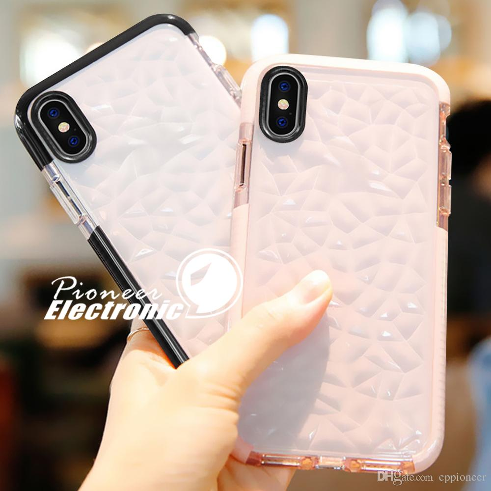 on sale ce7fd ed20b For 2018 NEW Iphone XR XS MAX X Case High Quality Soft Silicone Shockproof  Cover Protector Crystal Bling Glitter Rubber TPU Clear Case Reiko Cell ...