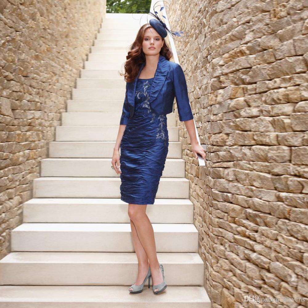 Acheter Moderne Bleu Royal Deux Pieces Robe Mere De Mariee A Encolure Degagee Robe De Cocktail En Taffetas Drapee De 117 64 Du Wevens Dhgate Com