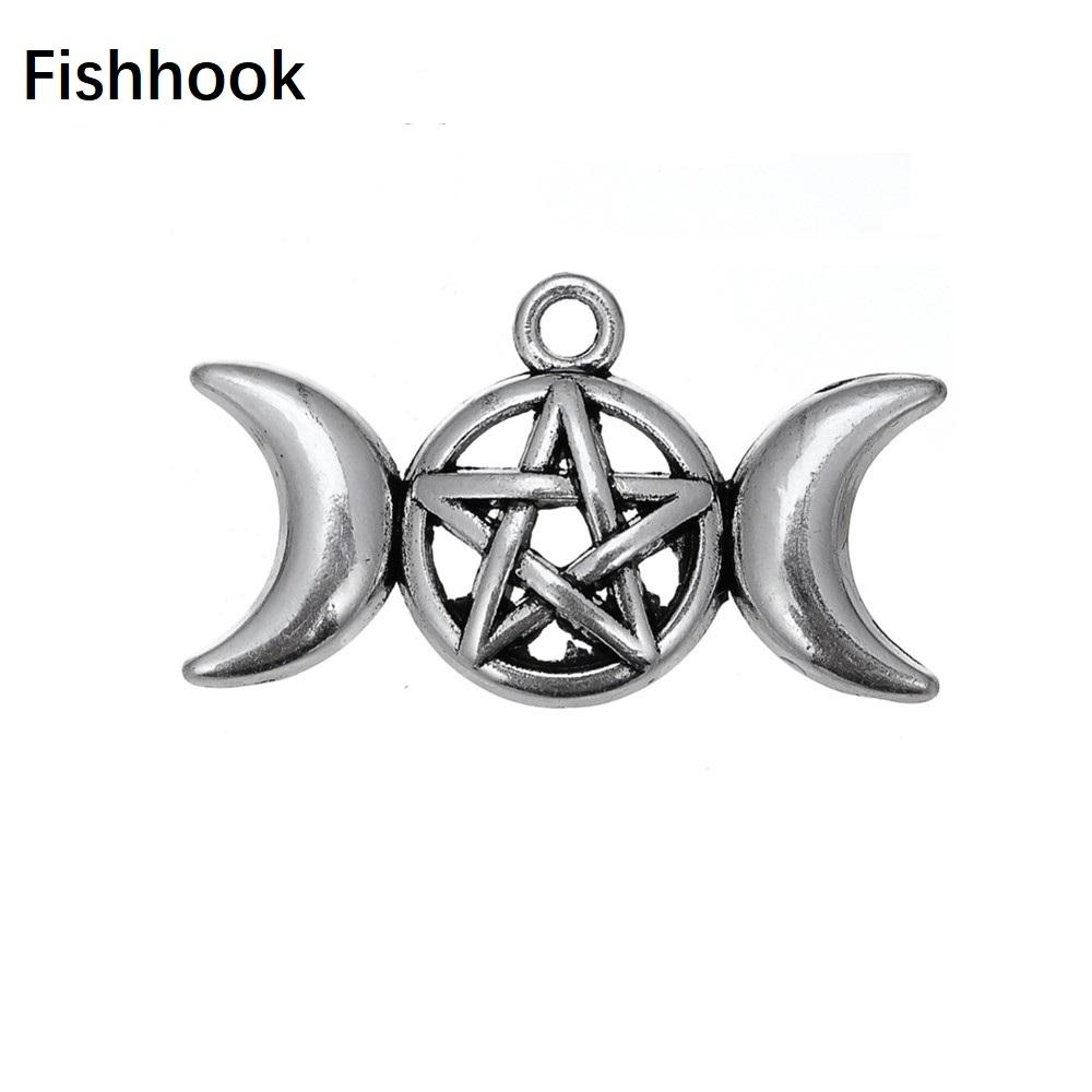 Charms Fishhook Triple Moon Goddess adatti del pendente per la collana Pentagramma Pentacolo Protezione Antique Jewelry Stella vichingo