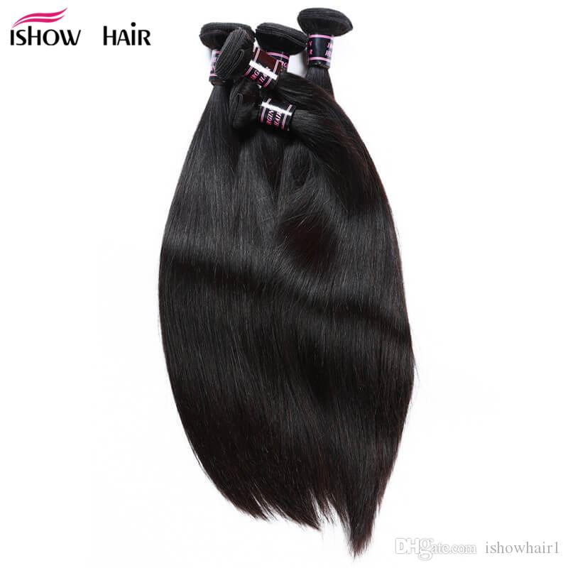 Ishow Malaysian Virgin Hair Extensions Eau droite 10 PCS PCS Peruvian Corps Vague Lâche Bonds de cheveux humains pour Femmes Tous âges de 8 à 28 pouces Naturel Noir